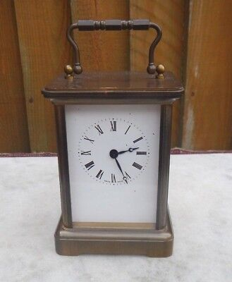 Quality Swiss Made Heavy Brass Cased Carriage Clock~Enamel Dial~Quartz Movement