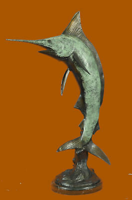 Limited Edition Signed Marlin Fish Ocean Trophy Bronze Sculpture Statue Figurine