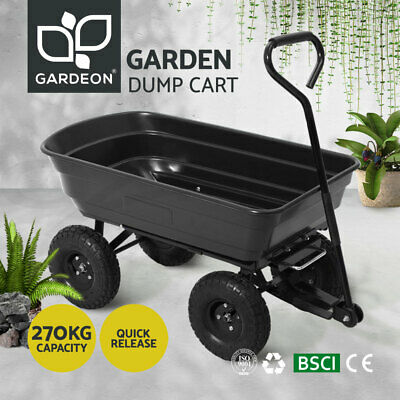 Gardeon 75L Dump Garden Cart 270kg Tipping Bed Trolley Wagon Wheelbarrow Pull BK