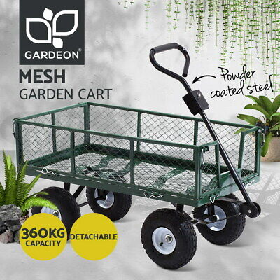 Gardeon 800lbs  Mesh Garden Cart Steel Removable Sides Trolley Wagon ATV Trailer