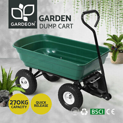 Gardeon 75L Dump Garden Cart 270kg Tipping Bed Trolley Wagon Wheelbarrow Pull