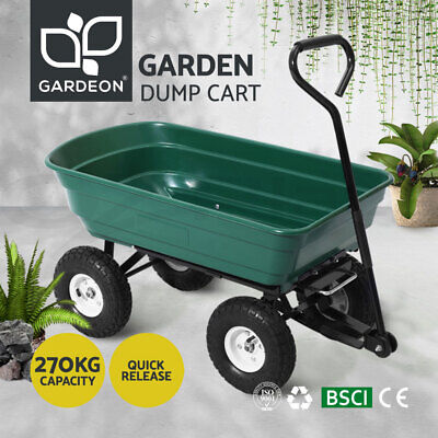 Gardeon 75L Dump Garden Cart 85° Tipping Bed Trolley Wagon Wheelbarrow Pull GN