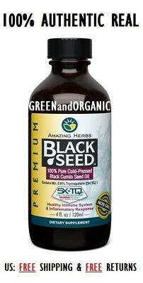 Amazing Herbs Black Seed 100% Pure Cold-Pressed Black Cumin Oil 4 oz Organic 4oz