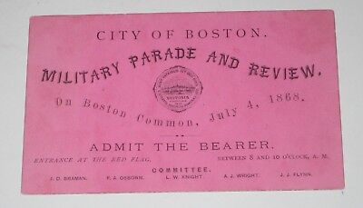 1868 BOSTON United States 4th July MILITARY PARADE & REVIEW TICKET Civil War