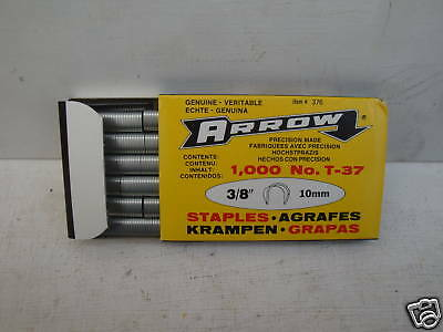 """Pack Of 1000 X 10Mm  3/8"""" Arrow T-37 T37 Round Crown Wire And Cable Staples"""
