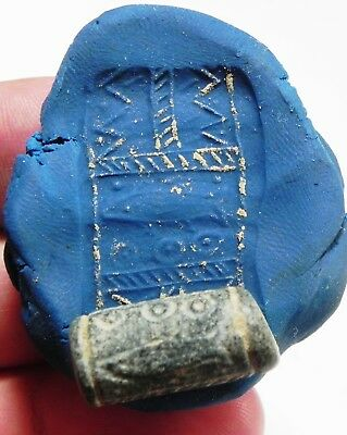 ZURQIEH - as4563- ANCIENT CANAANITE STONE CYLINDER SEAL. 1700 - 1550 B.C