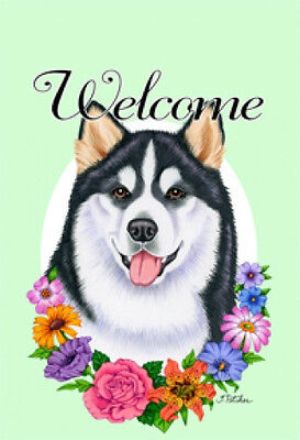 Large Indoor/Outdoor Welcome Flag (Flowers) - Alaskan Malamute 63147
