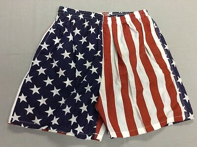 Vtg 80S Wise Guy Usa American Flag Swimming Surf Trunks Beach Shorts Mens Medium