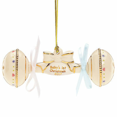 Lenox 2017 Baby's First Christmas Rattle Annual Ornament New in Box MSRP $60