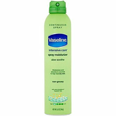 Non Greasy Aloe Spray Moisturizer by Vaseline - Heals Dry Skin 6.5 oz (6 Pack)