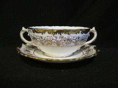 Coalport - HAZELTON GOLD and WHITE - Cream Soup and Stand