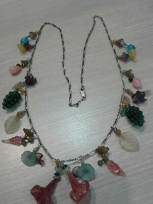 """sterling silver necklace, vintage, glass charms. Great condition,  26"""" long"""