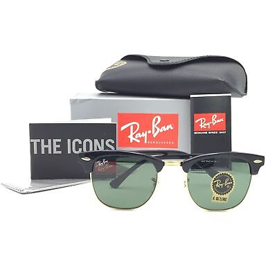 f53477616be9 New Ray-Ban RB3016 W0365 Black Gold Clubmaster Sunglasses G-15 Green Lenses  51mm