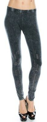e78bbcd2a864d new VOCAL mineral wash LEGGINGS sexy slimming GRAY SM MD LG bling skinny  pants