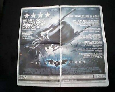 Best THE DARK KNIGHT Superhero Movie Opening Day AD 2008 Los Angeles Newspaper