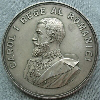 Romania Carol I 1903 Silver plated Medal Congress & Exposition in Bucharest 65mm