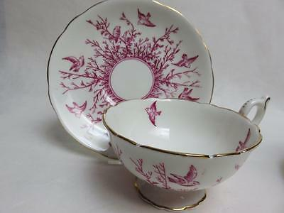 LOVELY Pink birds and branches Coalport 9676  cup saucer 1954 WIDE MOUTH