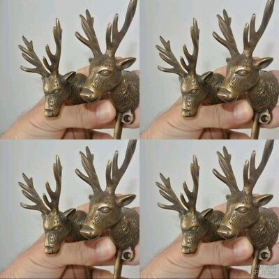 """8 small REINDEER stag horns HOOKS solid BRASS old hook aged style 6 """" Deer B"""