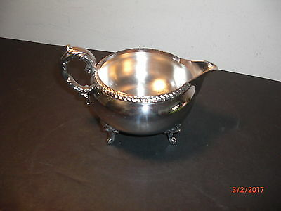 """Vintage Poole Silver Co. Silver Plated Footed  Creamer (7 by 4.5 by 4"""")"""