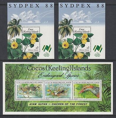 COCOS ISLANDS, 3 Miniature Sheets, Mint Never Hinged
