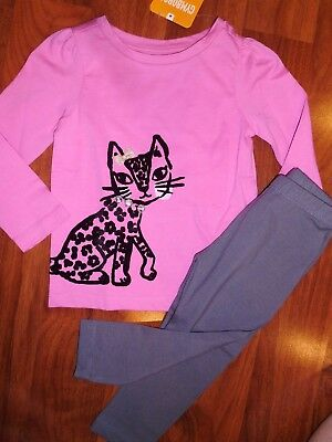 18 24 M Gymboree Pink Kitty Cat Black Gray Leggings Outfit Baby New Girl NWT