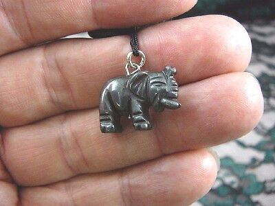 (an-ele-7) ELEPHANT black Hematite carving Pendant NECKLACE FIGURINE gemstone