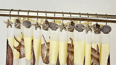 12 Pack Of Beige Shells Starish Hand Crafted Shower Curtain Hooks