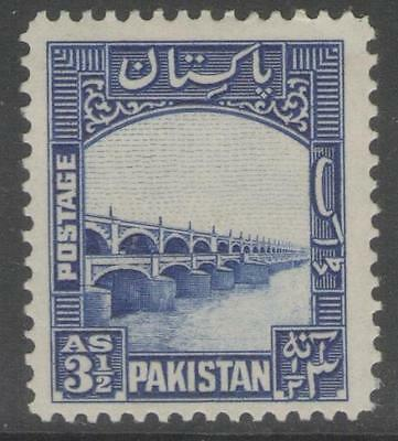 PAKISTAN SG32 1948 3½a BRIGHT BLUE MTD MINT