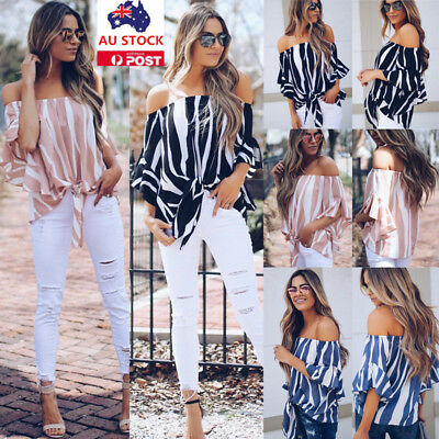 Plus Size Women Summer Off Shoulder Strapless Flared Sleeve Shirt Tops Blouse