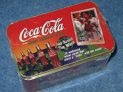 1996 Coca Cola Metal Collector Cards By Metallic Images Set Of 10 B6771