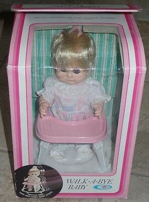 Playmates WALK-A-BYE BABY Doll in Walker Battery Operated NEW in Box 1982