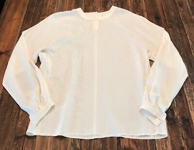 cabed9d26e02dc ROBERT RODRIGUEZ OFF White Cream Silk Lace Blouse Button Down 4 S ...
