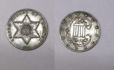 1861 3 Cents Silver Borderline Unc Civil War Coin Inv#fp-1-28