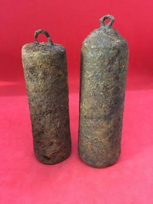 PAIR OF ANTIQUE CAST IRON LONGCASE CLOCK WEIGHTS 1.656kg & 1.244kg