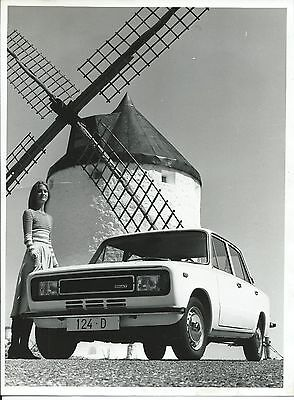 Seat Fiat 124 D 4 Door Press Photograph With Pretty Girl & Windmill