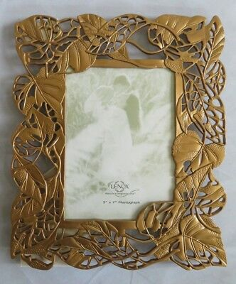 LENOX Nature's Impressions Picture Frame 5 X 7  ~ Gold ~ Leaves (J4)