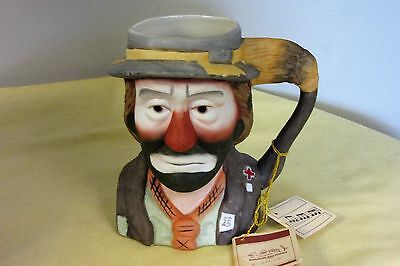 Vintage Emmett Kelly Jr Clown Face Music Box Mug Flambro 1984