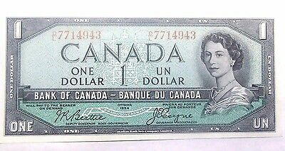 1954 Bank Of Canada One Dollar Note Nice Crisp Uncirculated