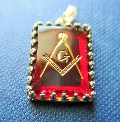 Lovely  red Masonic watch Fob/pendant  with sterling silver setting.