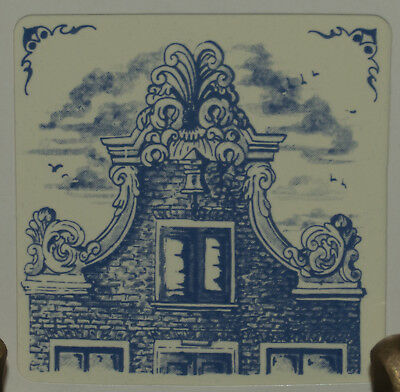 """KLM 3"""" tile 1982: #11 - delft collectible tile 17th century bell gable Holland"""
