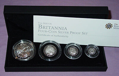 2010 Royal Mint Silver Proof Britannia Four Coin Collection Cased
