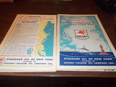 1940s Mobil Eastport to Portland, Maine Cruising Guide Vintage Map