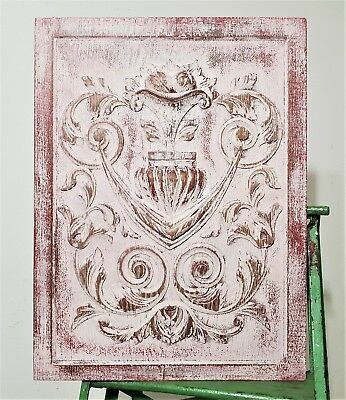 Gothic Scroll Leaves Panel Antique French Hand Carved Wood Shabby Paint Paneling