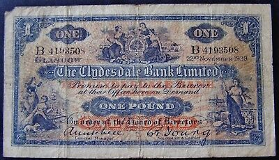 Scotland 1939 Clydesdale Bank Limited ONE POUND ( £1 ) Banknote - Scarce