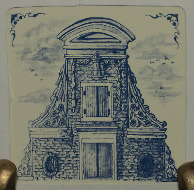 """KLM 3"""" tile 1982: #7 - delft collectible tile 17th century heightened neck gable"""