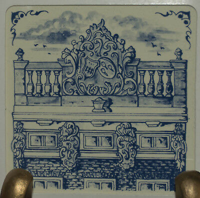 """KLM 3"""" tile '82: #3-delft collectible tile 17th century Heightened Cornice Gable"""