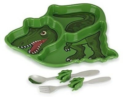 KidsFunwares Me Time Meal Set (T-Rex Dinosaur) (Set of PP Plate, Forkand Spoon)