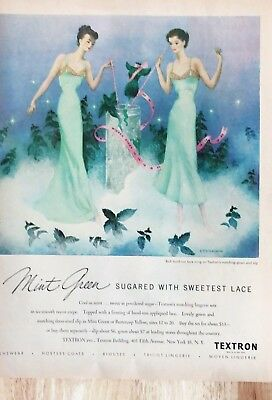 Original 1949 Print Ad TEXTRON Lingerie Sugared with Lace Sternberg