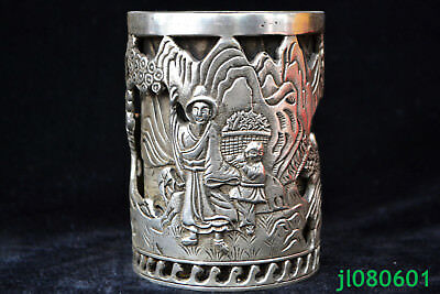 Collectible Chinese Old tibet silver calligraphy hollow out big rare brush pot