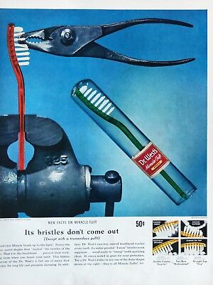Original 1949 Print Ad DR WEST'S Toothbrush Vintage Bristles Don't Come Out